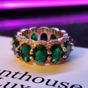 🌿💎 Emerald Rose Gold White Sapphire Ring